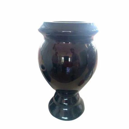 Glossy Granite Stone Black Garden Flower Pot
