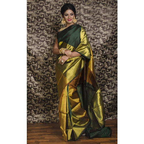 68c470cfae525 Pure Kanjivaram Silk Saree in Dark Green and Gold