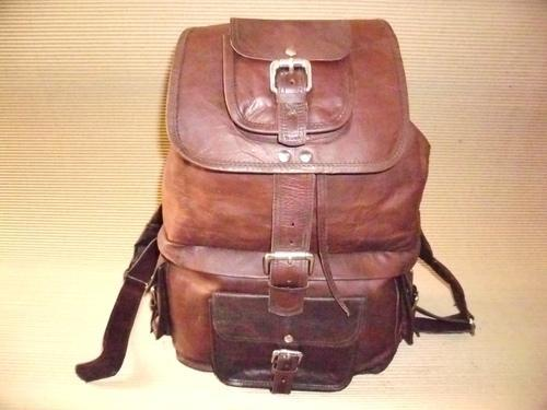 Unisex Brown Rustic Leather Backpack Bag
