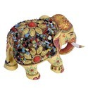 Wooden Elephant with Multi Color Stones