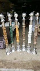 Steel & Wood Steel Wooden Rajwadi Master Pillar
