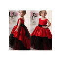 Red & Black Satin Kids Western Long Gown