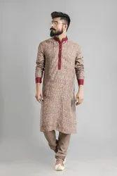 Cotton Printed Beige Party Wear Mens Kurtas, Size: Medium, Size/Dimension: Medium