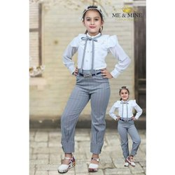 Casual Wear Kids Girl Western Pant Top Set, Age: 6-12 Years