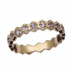 Eternity Style 9k Fine Gold Tanzanite Gemstone Women Engagement Ring