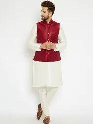 Offwhie And Maroon Yugalik Trendz Mens Kurta Suit With Modi Jacket