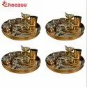 Choozee - Copper Thali Set of 4 (48 Pcs) Thali, Bowl, Spoon,Glass, Ice-Cream Cup, Knife & Fork