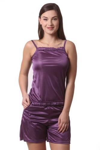 Purple Stain Lycra Women  s Satin Lycra Nightwear Set ec6599f515
