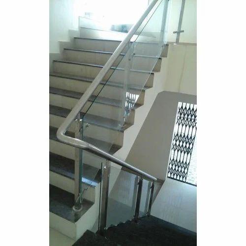 Stainless Steel Railings Glass Handrails Installation: Staircase Stainless Steel Glass Railing
