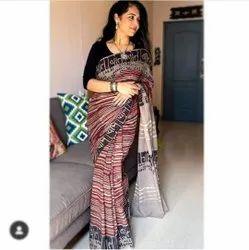 Hand Block Printed Cotton Malmal Saree