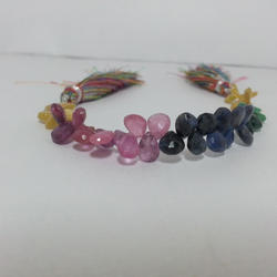 Natural Multi Precious Pears Briolette Faceted Beads