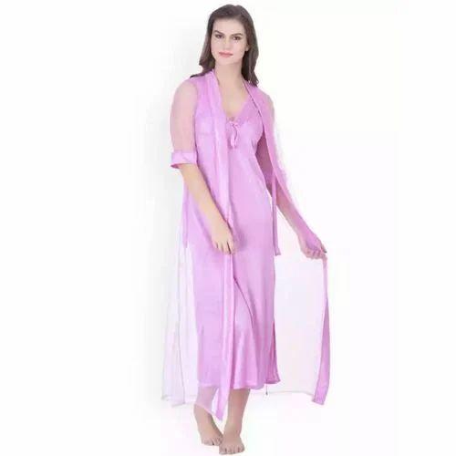 4862e4f0e2 Ladies Satin Pink Plain Night Dress