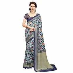 Casual Wear Printed Cotton Saree, With Blouse