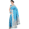 Silk Indian Handloom Sky Blue Wedding Saree, Length: 6.3 m