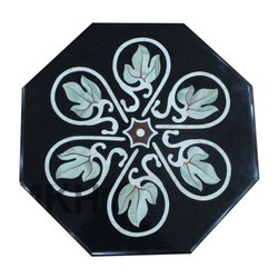 Black Marble Coffee Table Top Lattice Work Decor