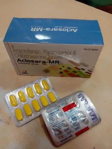 Aceclofenac 100 mg Paracetamol 325 mg Chlorzoxazone 250 mg - Aclosara MR Tablets