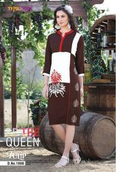 Tulip Rayon with Embroidery Brown and White Kurti