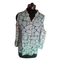 Large And XL Ladies Cold Shoulder Printed Shirt