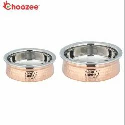 Choozee - Copper SS Serving Handi Set of 2 Pcs