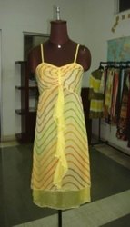 YELLOW Printed Beaded Evening Dress, Age Group: 17-25