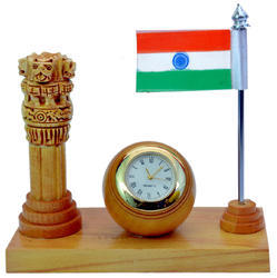 Wooden Ashoka Stambh With Flag