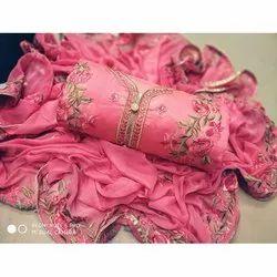 Rajnandini Pink Semi Modal Embellished Semi-Stitched Dress Material