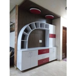 White And Maroon Wall Mounted Modern Wooden TV Unit
