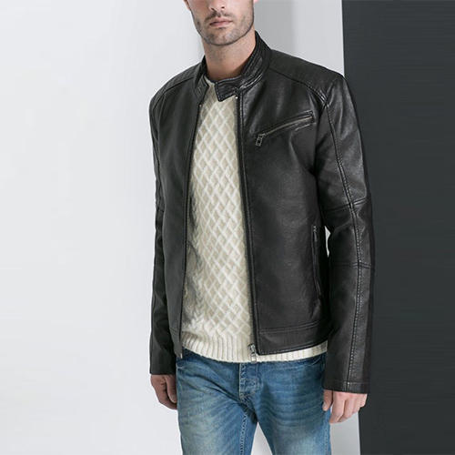 b5aa41c1177 Mens Leather Jackets 1 - Mens Fitted Black Biker Jacket Front Manufacturer  from Mumbai