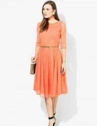 Orange Party Wear Modern Net Dress With Adjustable Belt