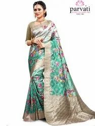 Trendy Multi Color Silk Saree With Blouse Piece By Parvati Fabric