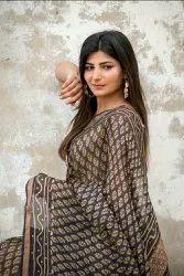 Ajrakh Hand Print Chanderi Silk Saree