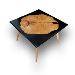 Black Wooden Epoxy Table Top Counter Top Wood, For Market, Shape: Square