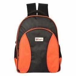 Pu Orange, Black College Bag, Bag Size: 17 Inch