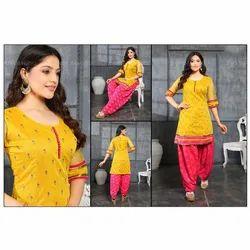 Chiffon Stitched Ladies Round Neck Salwar Suit, Machine wash