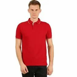 Mens Red Collar Neck T-Shirt