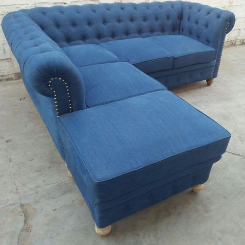 5 Seater Fabric Blue Denim Chesterfield Sofa, Rs 26000 /set | ID ...