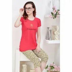 Hosiery Half Sleeve Ladies Wanderlust Print Night Suit, Size: M-XXL, Packaging Type: Packet