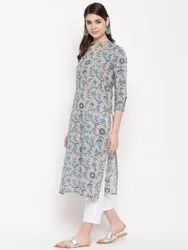 Women HC747 Grey Floral Straight Kurta