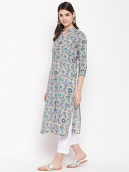 Women Floral Straight Cotton Kurta