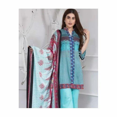 03a54c2447 Cotton And Gergot Casual Ladies Blue Designer Suit, Rs 1500 /piece ...