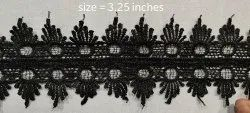 Double side black panja lace