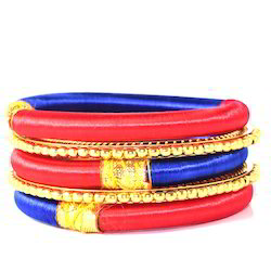 Indian Handicraft Red and Blue Cord Silk Thread Bangle