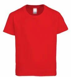 Red-Plain/Basic Round Neck T-Shirt
