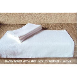 Cotton White Hand Towel, Size: 16 X 27 Inch