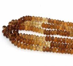 Brown Champagne Quartz Gemstone Rondelle Beads