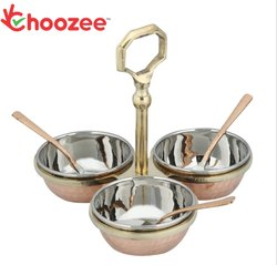 Choozee Copper/Stainless Steel Condiment Pickle Set with Spoon (Set of 3 Bowls)