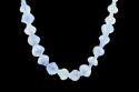 Blue Color Twisted Glass Beads With Thread Necklace