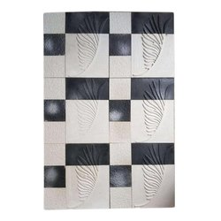 Wall Cladding Black And White Stone Mosaic Tile, Thickness: 1-5 Mm, Size: 15x60 Cm