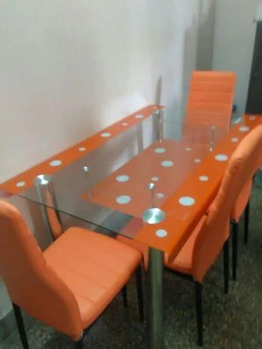 5 3 Feet Glass Dining Table Set Rs 8000 Set Abi Furn Id 18901571991