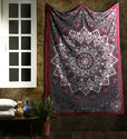 Star Print Maroon Cotton Mandala Room Tapestry